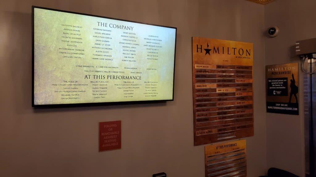 Digital Cast Board at Hamilton on Broadway