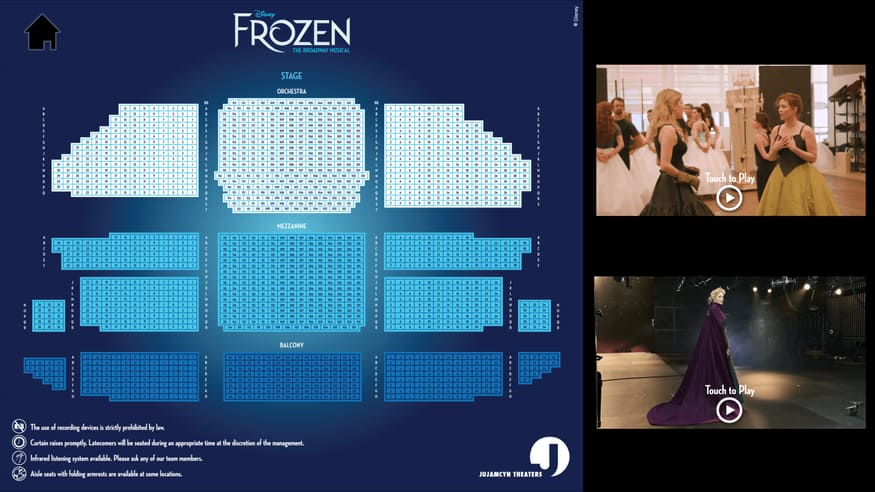 Cast Board at Frozen on Broadway - Seating Chart