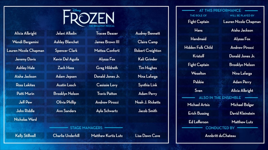 Cast board for Frozen on Broadway