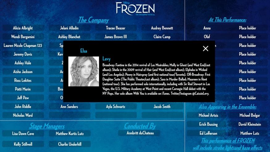 Cast Board at Frozen on Broadway - Elsa Detail